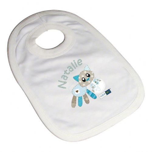 Personalised Cotton Zoo Calico the Kitten Bib